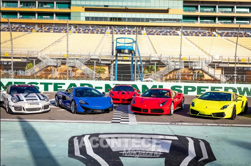 Parte da frota de carros do Miami Exotic Auto Racing